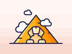 Egyptian Pyramids by Aleksandar Savic on Dribbble Egyptian Drawings, Egyptian Art, Web Design, Icon Design, Travel Sketchbook, City Icon, Mini Canvas Art, Travel Icon, Bullet Journal Art