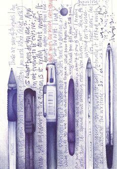 Ballpoint illustration by Andrea Joseph Art Journal Pages, Journal D'art, Art Journals, Sketch Journal, Sketchbook Inspiration, Art Sketchbook, Ballpoint Pen Drawing, Drawing Sketches, Sketching