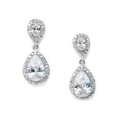 CZ Teardrop Wedding Earrings 3520e ❤ liked on Polyvore featuring jewelry, earrings, cz earrings, teardrop earrings, tear drop jewelry, teardrop jewelry and prom earrings