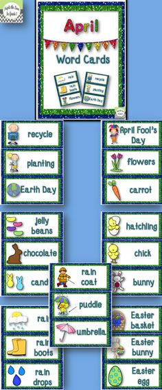 $1 April Word Cards - tons of uses! Display on word wall or bulletin board, place in writing baskets, or use as flash cards.