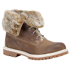 Timberland 3758R Taupe Leather Winter Boots Womens Sizes Faux Fur Fold Down  #Timberland #SnowWinter