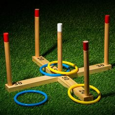 Bring competitive fun to any backyard get-together with the Wooden Ring Toss from Franklin Sports. Perfect for playing with friends and family, this durable ring toss boasts sturdy wooden construction and kid-friendly plastic rings. Backyard Playground, Backyard For Kids, Backyard Games, Diy Yard Games, Diy Games, Fun Outdoor Games, Outdoor Toys, Outdoor Checkers, Billard Design