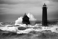 November Storm in Grand Haven, Michigan - black and white - 5 x 7 or larger print