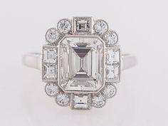 2 Carat Emerald Cut Diamond Engagement Ring in Platinum | Etsy