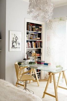 Home office design inspiration - desk facing window Home Office Design, Office Decor, Office Ideas, Desk Office, Apartment Bedroom Decor, Apartment Ideas, Apartment Layout, Apartment Interior, Home Office