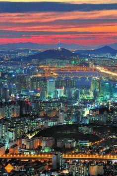 Seoul by night. South Korea.