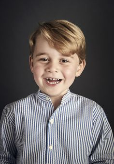 This new image was released to celebrate Prince George's fourth birthday. He was wearing a £42 striped blue shirt from the British children's brand Amaia