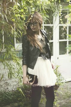 665ade20aa Cute vs Tough  A great combination of cute and girly with the strong  leather jacket