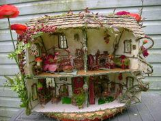 """""""For your consideration, I offer my latest OOAK (One of a Kind) fairy house straight from a FAIRYTALE  FANTASY! It is  1:24 scale. The exte..."""