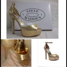 Steve Madden Stilettos..New Shimmering gold with Rhinestones stilettos..Never worn. New with box Steve Madden Shoes Heels