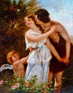 Cupid Urging A Young Woman Into The Arms Of Her Suitor - P. Martin (French 19th/20th century)