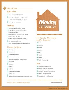 A moving to-do list for the organized mover. Free printable moving ...