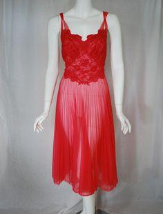 1950s Vanity Fair Red Nightgown