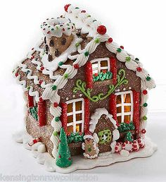 Christmas Decoration - Led Lighted Gingerbread House - Santa On ...