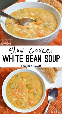 This Slow Cooker White Bean Soup practically makes itself! Just throw everything into the pot and press go to end up with a thick, flavorful, vegan soup. Vegan Slow Cooker, Slow Cooker Recipes, Crockpot Recipes, Cooking Recipes, Slow Cooker Bean Soup, Cooking Bacon, Steak Recipes, Shrimp Recipes, Slow Cooker Soup Vegetarian