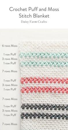 Free Pattern - Crochet Puff and Moss Stitch Blanket