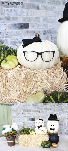 No-carve pumpkin idea with craft pumpkins! No-carve pumpkin idea with craft pumpkins! Chic Halloween, Holidays Halloween, Halloween Treats, Halloween Pumpkins, Halloween Porch, No Carve Pumpkin Decorating, Pumpkin Carving, No Carve Pumpkin Ideas, Thanksgiving Decorations