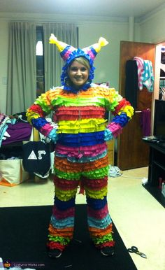 Piñata Costume - 2013 Halloween Costume Contest via @costumeworks I wouldn't have the patience but the work that went into this is incredible!!!