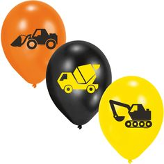 6-teiliges Luftballon-Set * BAUSTELLE * // AMSCAN // Kindergeburtstag Kinder Geburtstag Feier Set Mottoparty Partygeschirr Deko Fest Party Motto Deko Luftballons Ballons Bauarbeiter Bagger Bob