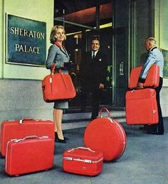 Eva Marie Saint surrounded by her American Tourister Tiara luggage, 1965 #vintage #airline #travel