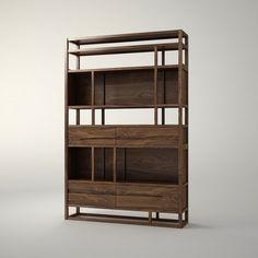 展厅书架 规格:W1440×D340×H2200 材质:卡斯楠 颜色:胡桃色亚光漆 设计师:康佳为