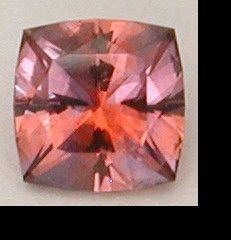 Natural Padparadscha Sapphire (heat-treatment only) direct from the mine in Columbia.  Square cushion, .68 cts. from The Gemstone Artist