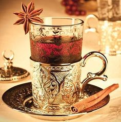 Authentic Turkish Tea Water Coffee Set 6 Cup Glass Saucer Cover Ottoman silver