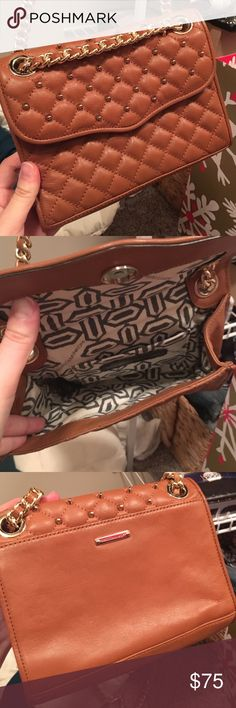 Rebecca Minkoff Mini Quilted Affair Brown leather with gold accents, in perfect condition! Never used. Will include dust bag Rebecca Minkoff Bags Crossbody Bags