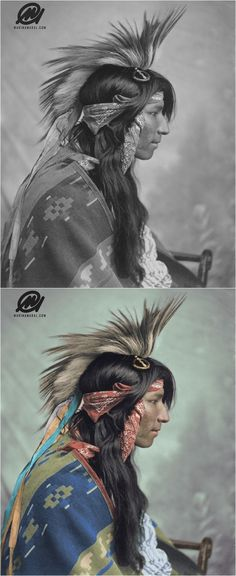 Indígena da etnia Cree, tribo que habitava os Estados Unidos e o Canadá, em foto de 1903