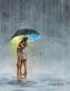 Nær deg, under en paraply, er regnet ganske fint. Adrian Johnson, Cute Little Drawings, Lovers Kiss, Lisa, Caravaggio, Mobile Wallpaper, Diy Art, Brave, Illustration Art