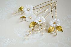 Floral Hair Pins Bridal flower pins Ivory by JanaRoyaleDesign