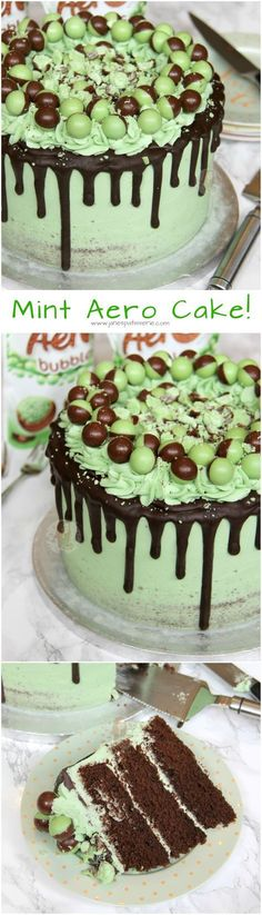 A Three Layer Chocolate Mint Sponge, with Mint Buttercream Frosting, Dark Chocolate Drip, and Mint Aero Bubbles Galore! (chocolate icing for cake) Baking Recipes, Cake Recipes, Dessert Recipes, Healthy Recipes, Mousse Au Chocolat Torte, Cupcake Cakes, Cupcakes, Cake Cookies, Janes Patisserie