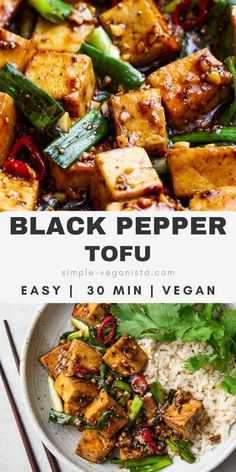 Simple tofu dish in sweet and salty sticky sauce with green onions and spicy peppers makes a quick and easy lunch or dinner, ready in about 30 minutes. Healthy Weeknight Meals, Vegan Dinner Recipes, Vegan Dinners, Vegan Recipes Easy, Veggie Recipes, Whole Food Recipes, Cooking Recipes, Tofu Meals, Cooking Tofu