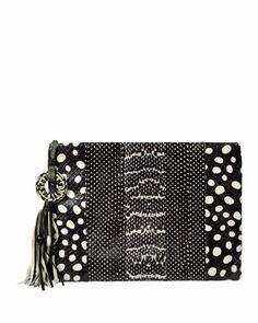 Celia Large Snakeskin Clutch Bag, Black/White by Rafe at Neiman Marcus.