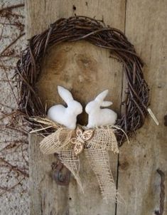 Fabric bunnies, burlap on grapevine wreath