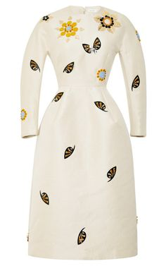 Embellished Woven Sculpted Waist Midi Dress by DELPOZO Now Available on Moda Operandi