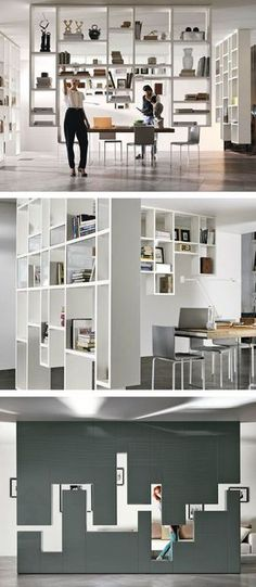 Divider wall-mounted storage wall Lagolinea Weightless by Lago Daniele Lago Partition Design, Bookshelf Design, Interior Decorating, Interior Design, Office Interiors, Interior Architecture, Shelving, Furniture Design, House Design