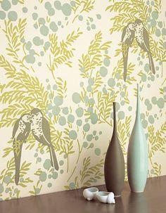 Modern wallpaper: Birds + leaves + berries: Blue-green botanical print by xJavierx, via Flickr