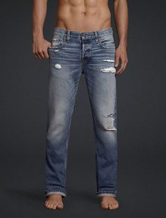 Bowery Slim Straight Destroyed Medium Wash Jeans at Aeropostale ...