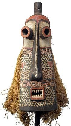 Pende Pumbu Mask (Pumbu is deemed the most dangerous and is reserved for only the most powerful chiefs. The Pumbu, unlike the majority of other masks, is only danced on special occasions such as when the chief is seriously ill, in times of illness or famine, when other issues are causing disruption in the community or when the chief feels threatened. Through the dancing of the Pumbu the chief asserts his authority).