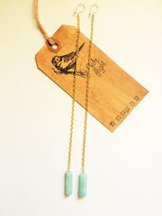 Super Long Goldtone Chain Drop Amazonite by TakeFlightStudioWA
