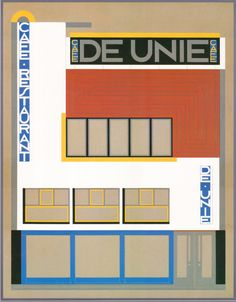 Drawing facade De Unie, Oud.