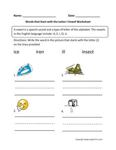 Words Start Letter E Vowel Worksheets  EnglishlinxCom Board