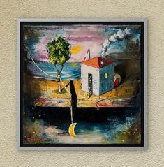 My house in Dreamland. Find yours! Oil on canvas. Oil On Canvas, Canvas Wall Art, Night Skies, Fairy Tales, Finding Yourself, Symbols, Paintings, Sky, The Originals