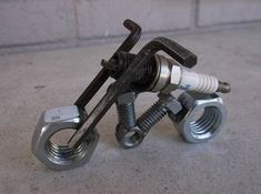 Motorcycle Metal Sparkplug Sculpture
