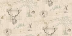 Richmond (98011) - Albany Wallpapers - A montage of images celebrating country living: Stag, rabbit, hedgehog, squirrel, tartan, cable knitting, trees and postcards - a fun, quirky design available in 3 colourways - shown in the olive/linen. Please request samples for true colour match.
