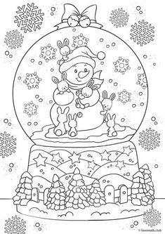 snowman in a snow globe printable adult coloring pages coloring book pages coloring sheets