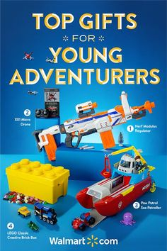 There's still time to find great gifts for kids who love adventure.Shop now at Walmart. Top Gifts for Young Adventurers include: NerfModulus Regulator, X01 Micro Drone, Paw Patrol Sea Patroller, LEGO Classic Creative Brick Box