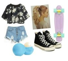 In love with this outfit.Pennyboard,ponytail,eos,black converse,shorts,tan top