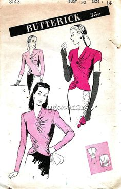 Butterick 3143 Vintage 1940s Fitted Blouse Pattern Tailored and by sydcam123